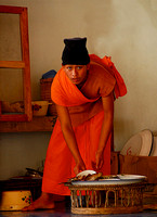 Monk in Kitchen, Cambodia