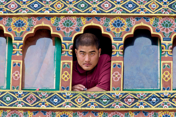 Monk in Window, Bhutan